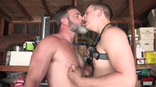 bearded daddy fucks his boy raw in the garage