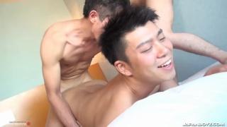 japanese lad gets a spit-roasting fuck