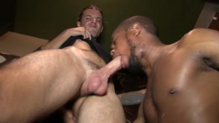bearded black guy gets face fucked