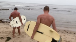 two surfers head back to their place to fuck