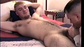 Hairy young marine gets sucked off