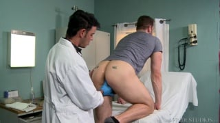 doctor gives hunky patient a rectal exam