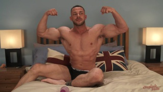 Straight muscle Hunk Pumps his Ass with a Dildo