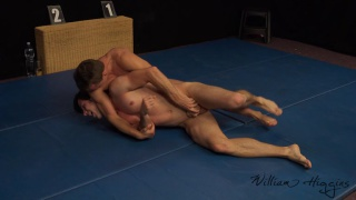 submission wrestling match with two sexy straight guys