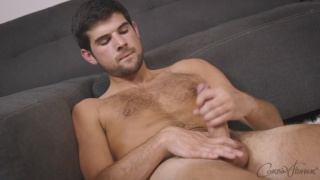 guy with hairy lean body masturbates