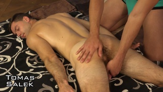 handsome straight guy gets his dick stroked by masseur