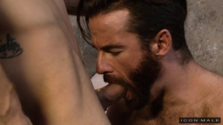 bearded bottom sucks a nice dick before getting fucked