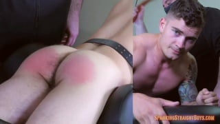 straight lad strapped to a table and spanked hard