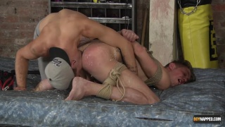 hands bound to legs, this boy gets fucked hard