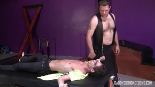 hairy daddy torments his restrained slave boy