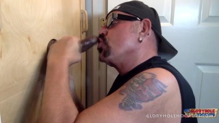 glory hole cocksucker slurps one last load of the day