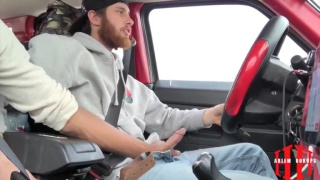 hot ginger & black guy jerks their cocks while driving