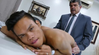 daddy in suit fucks office boy over his desk
