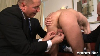 Nude stud invading dressed guy