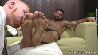 ginger foot pig gets a face full of cum