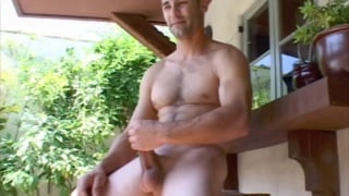 Furry chested guy naked on summer day