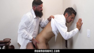 bearded mormon takes a young guy's ass