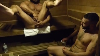 muscle men fuck around in the gym sauna