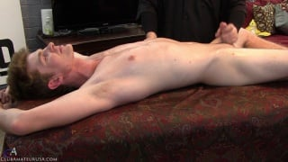 cute guy gets handjob on massage table