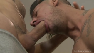 sergyo works his way down mario galeno's fat cock shaft