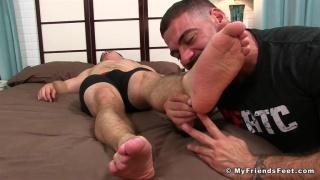 ricky larkin sniffs and licks sleeping guy's feet