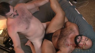 beefy hairy men flip-fuck raw