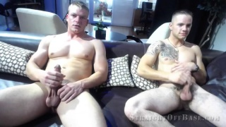 two marines takes a jacuzzi together