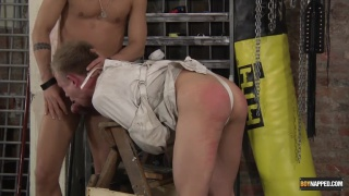 slave boy in strait jacket fucked over a bench