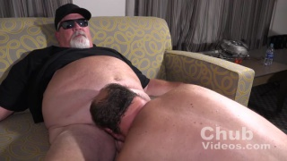 chub wears sunglasses during his blowjob