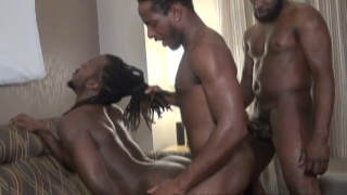 three guys sneak out of bachelor party for a threeway