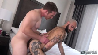 handsome blond daddy fucks bald and bearded bottom