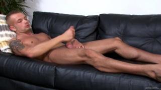 not-so-good-looking guy stroking his big dick