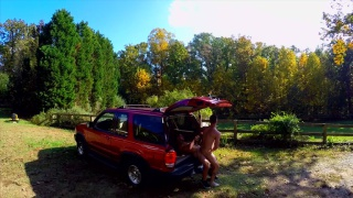 guys fucking in back of SUV while drone films