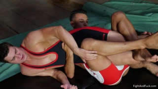 two friends wrestle in a loser-gets-fucked match