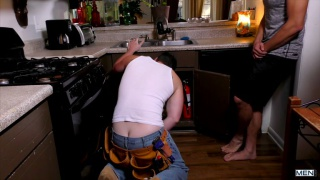 guy fucks the plumber in his kitchen