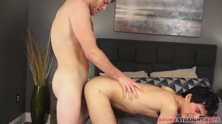 blond scruffy-faced guy buries his cock in bottom's ass