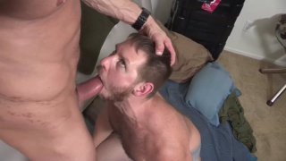 muscle daddy fucks bearded bottom boy's ass