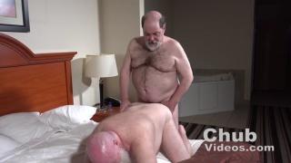 chub with a grey beard gets his ass fucked