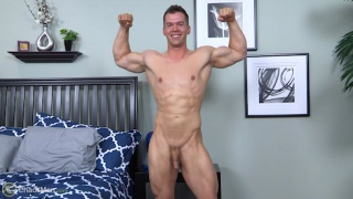 muscled guy conrad jerks his cock