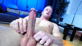 muscular 21-year-old Marine stud strokes his long dick
