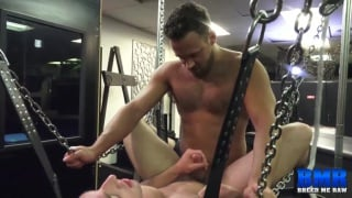 jacob durham gets barebacked in a leather sling
