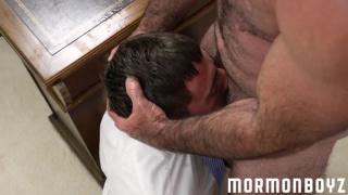 hairy daddy throat fucks a mormon boy