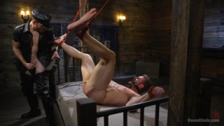 blond hunk hogtied and fucked hard