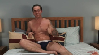 sexy straight hunk lubes up a dildo