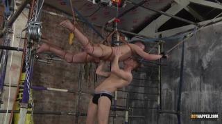 suspended slave boy gets his cock edged