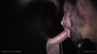 bearded cocksucker works the glory hole