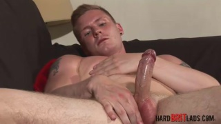 blond muscle stud jerks his long dick
