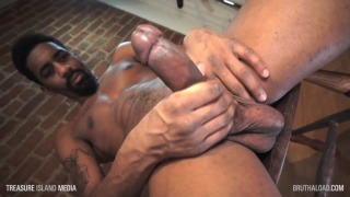 sexy bearded black stud strokes his 8-inch cock