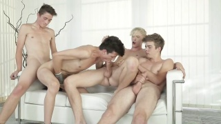 4 european twinks fuck bareback on the couch