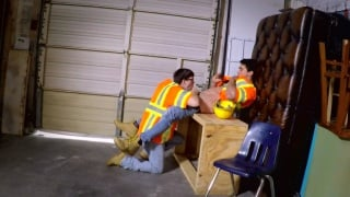 construction workers take a fuck break in the garage